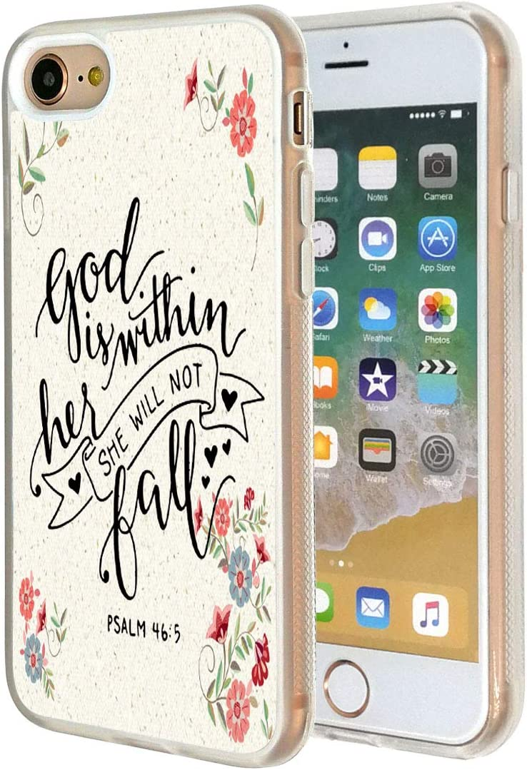 """iPhone 7 Case,Vobber Clear Slim Anti-Scratch Architecture TPU Shockproof Protective Case Cover for iPhone 7 4.7""""-Bible Verse Psalm 46:5(God is Within her,She Will not Fail) Flower"""