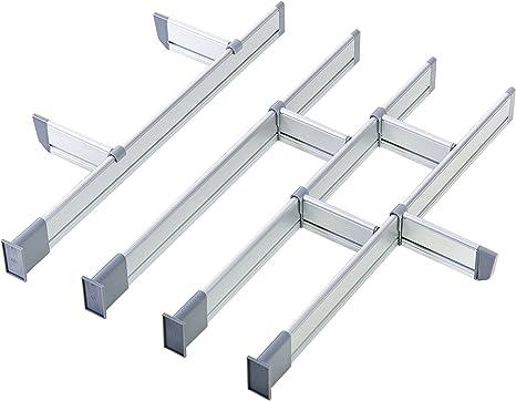 Adjustable Kitchen Drawer Dividers Elegant Aluminium Modular Drawer Organiser 12 Dividers Set Medium 44 5 Cm X 50 Cm Long Of Practical Comfort Amazon De Kuche Haushalt