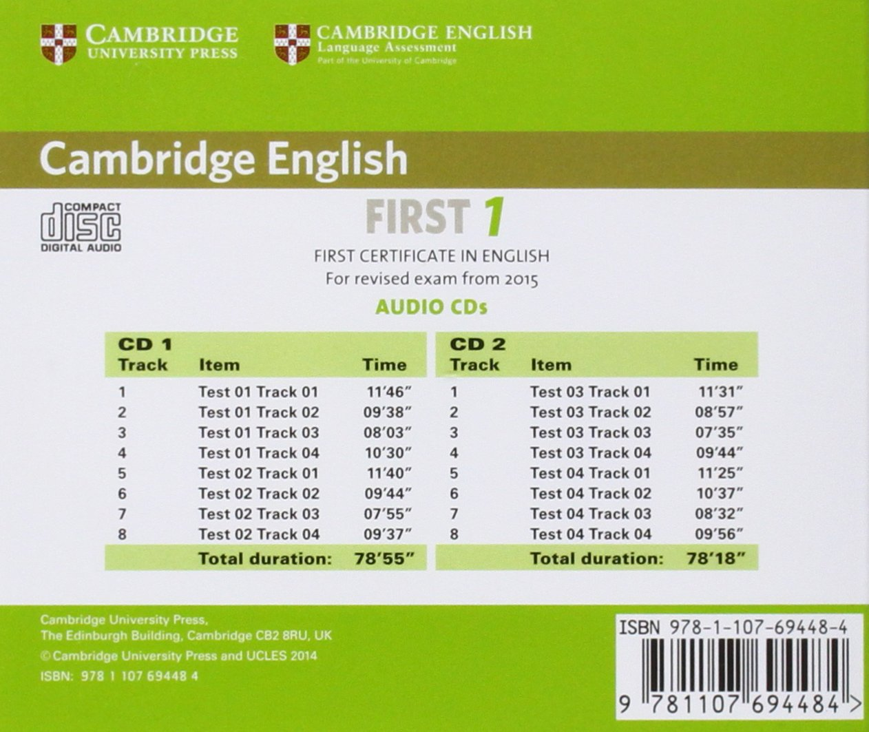 cambridge english first  Cambridge English First 1 for Revised Exam from 2015 Audio CDs 2 ...