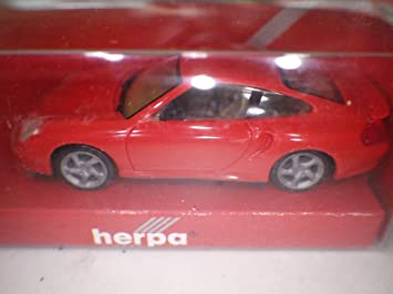 Herpa (Germany) Red Porsche 911 Turbo Coupe (996) Plastic 1:87