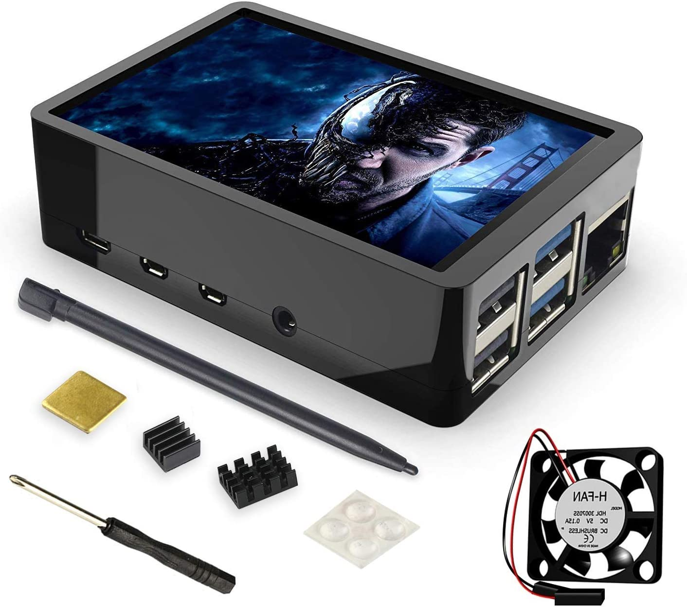 for Raspberry Pi 10 Touch Screen with Built-in Fan, Case and Cooling  Heatsink, 10x1080 Pixel 10.10 inch TFT LCD Monitor Display