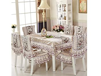 HYSENM Luxury Floral Polyester Dining Tablecloth Chair Cover Chair Seat  Slipcovers For Home Hotel Bar,