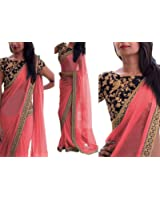 Saree Center Women's Pink Georgette Saree With Blouse Piece Material.