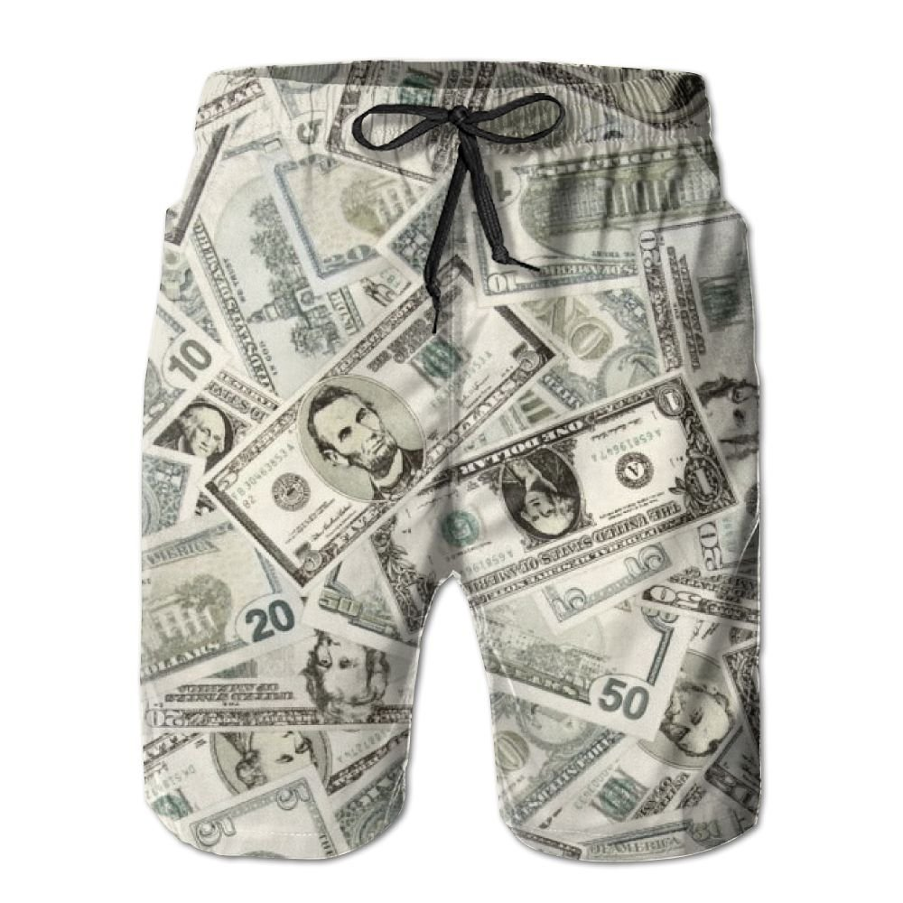 Money Green Men's Summer Casual Swimming Shorts Beach Board Shorts
