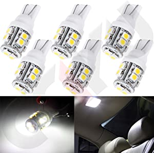 cciyu 6 PCS Super White T10 W5W 921 168 194 10-3528-SMD LED Light bulbs Wedge RV Landscaping Replacement fit for 2007-2013 Honda Fit