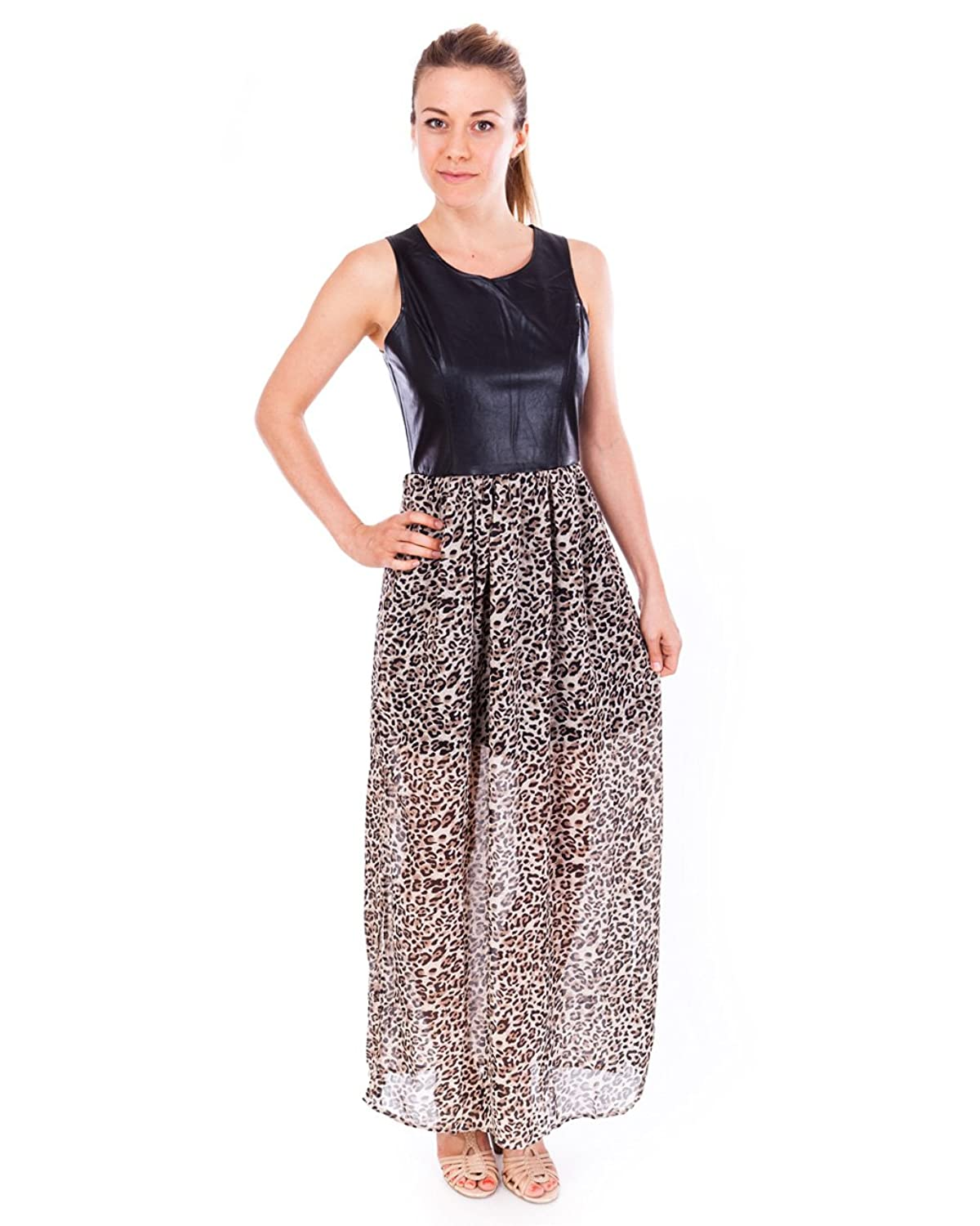 Clothes Effect Ladies Black Dress with a Leopard Printed Sheer Zippered Skirt