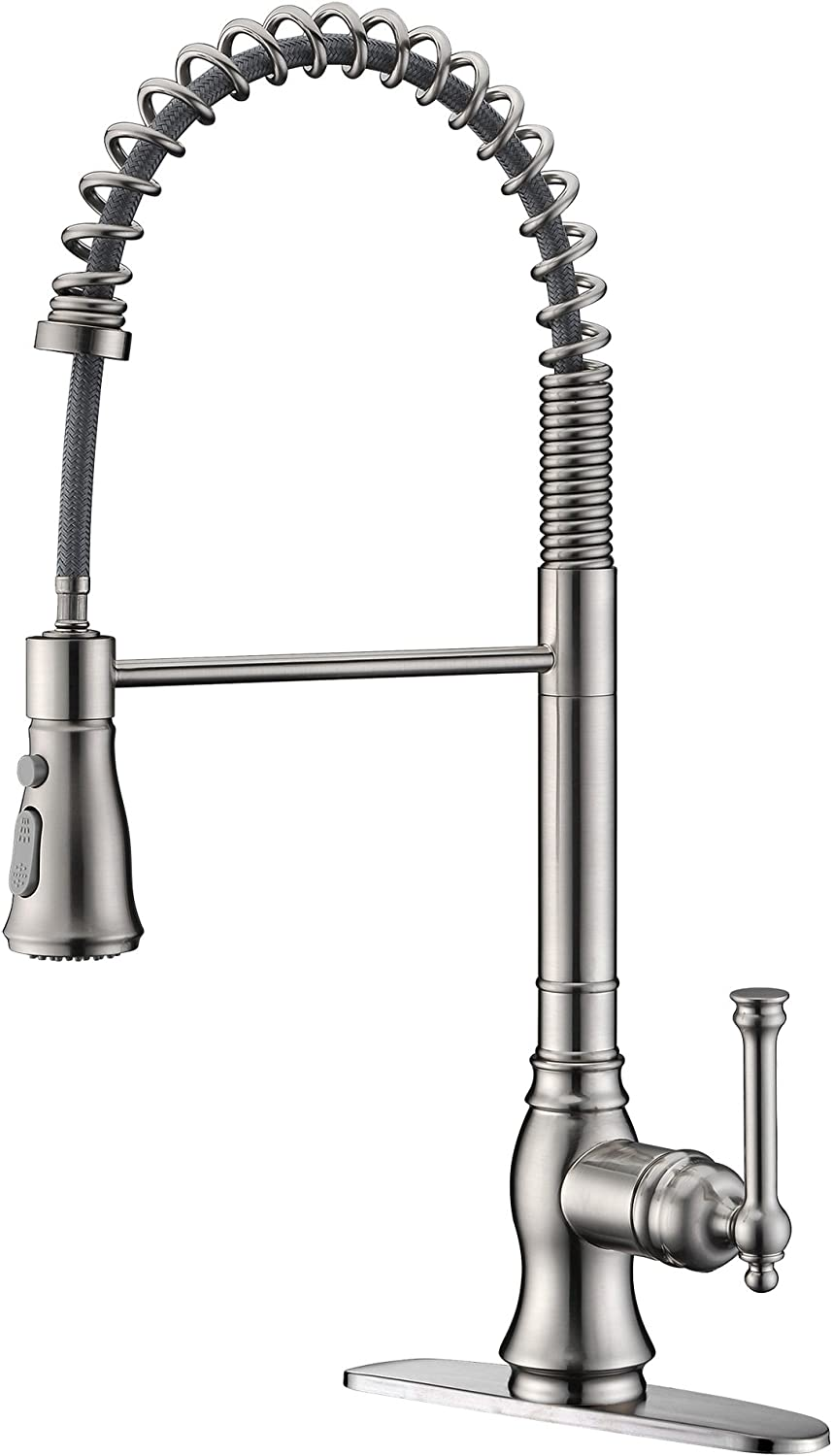 Kitchen Faucet, UEKPOE High Arc Commercial Single Handle Sink Faucet 360 Degree Swivel Spout Brushed Nickel Kitchen Faucets with Pull Down Sprayer