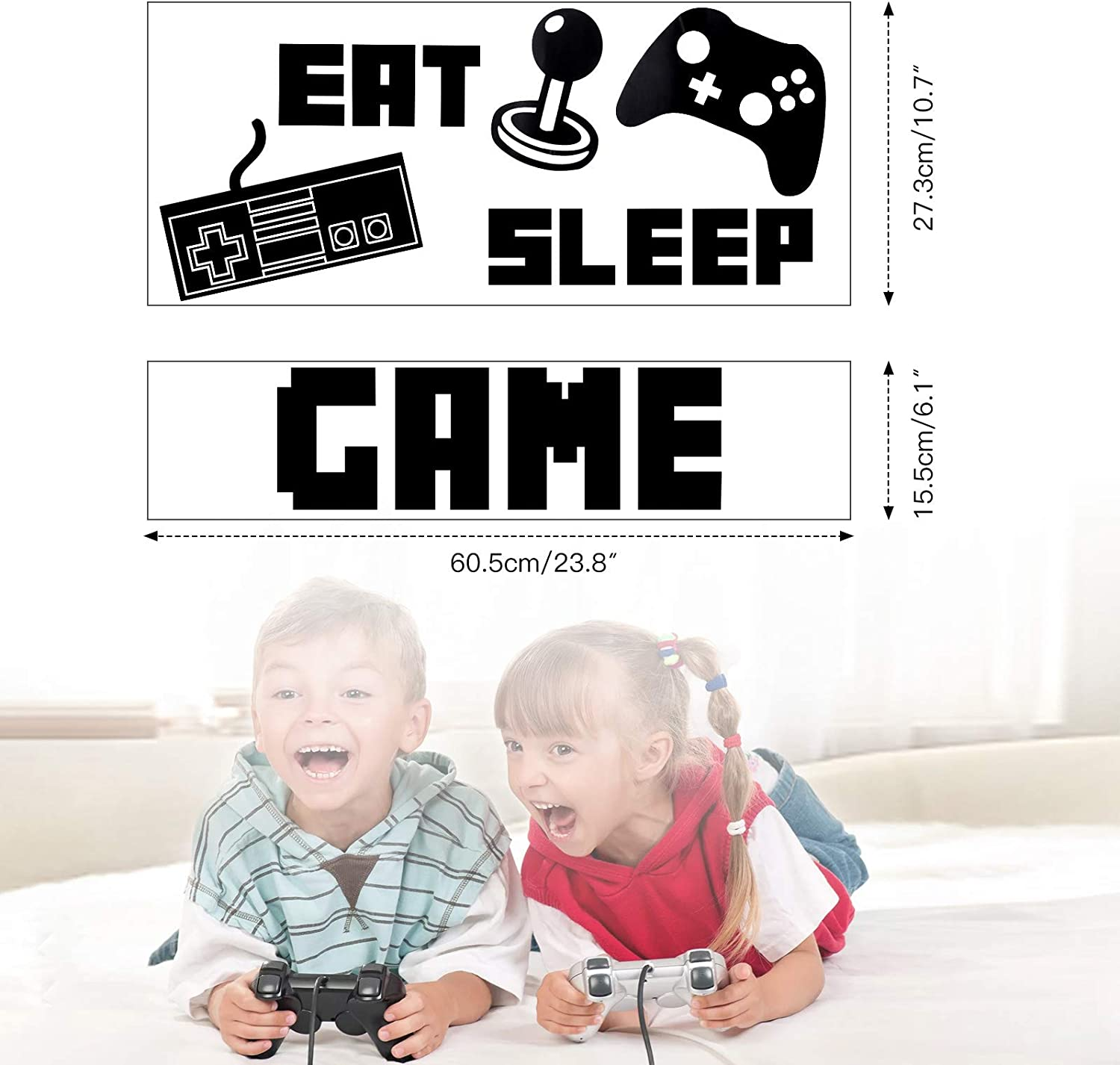 Vinyl Game Decor Stickers Wall Sticker Decor for Boys Bedroom Home Playroom Decoration Game Wall Decals OOTSR Eat Sleep Game Wall Stickers