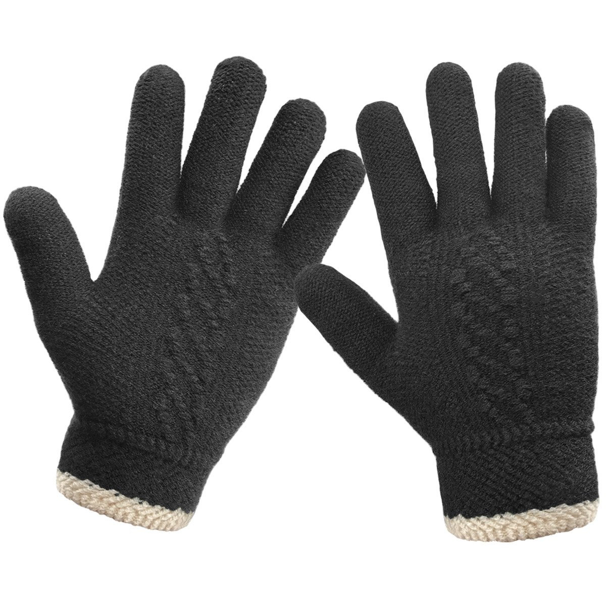 LETHMIK Unique Cuff Winter Gloves Womens Solid Color Warm Knitted Thick Gloves Black by LETHMIK