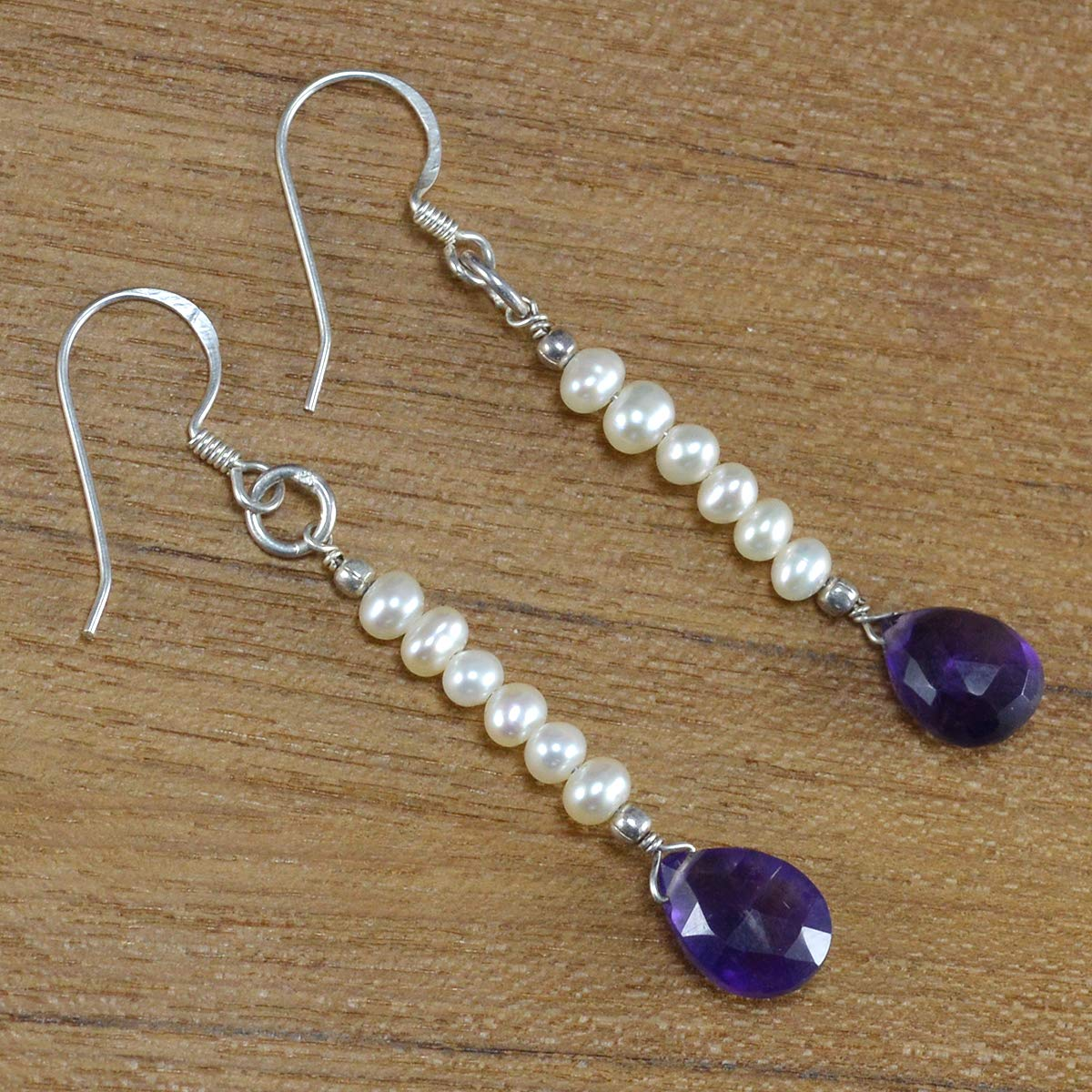 Saamarth Impex Amethyst /& Pearl Gemstone 925 Sterling Silver Dangle Earring PG-105363