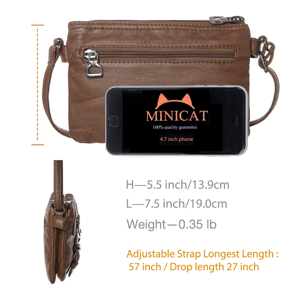 Women Soft Synthetic Leather Small Crossbody Bag Mini Crossbody Cell Phone Purse Wallet(Brown) by MINICAT (Image #6)