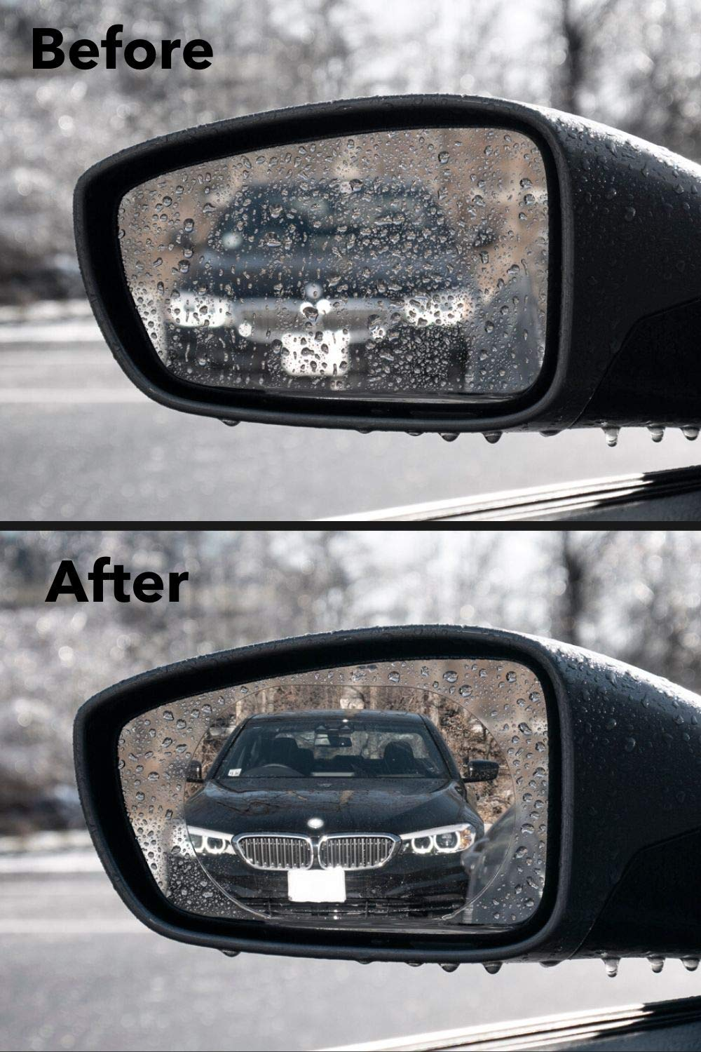 Anti-Scratch Water Anti-Glare Waterproof Protective Nano Shield Stickers for All Vehicles HD Crystal Vision Hydrophilic Mirror Protector Kit: Anti Fog Glare Film for Car Side View Mirrors