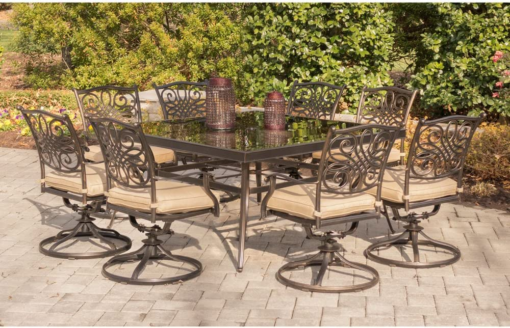 Hanover TRADDN9PCSWSQG Traditions 9 Piece Patio Dining Set