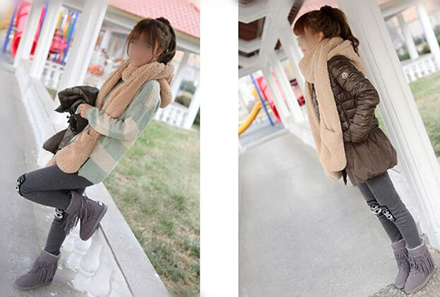 Demarkt Damen Winter Hut Kappen Schal Handschuhe 3 in 1 alle in einem weichen Kappen Hut Schal Handschuhen Kapuzenschal