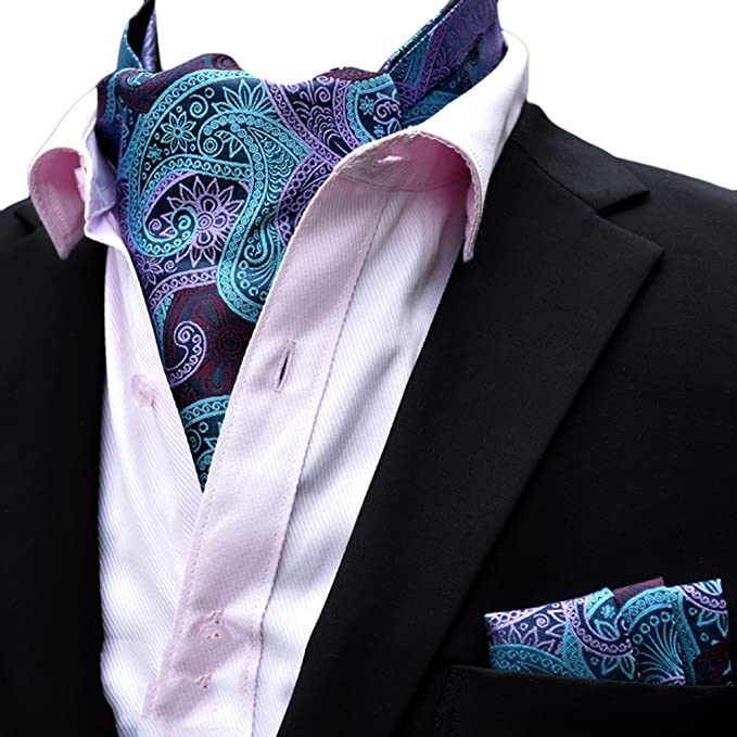 a1fa8b6941b9 Amazon.com: MOHSLEE Men's Paisley Striped Ascot Woven Silk Cravat Tie  Pocket Square Gift Set: Clothing