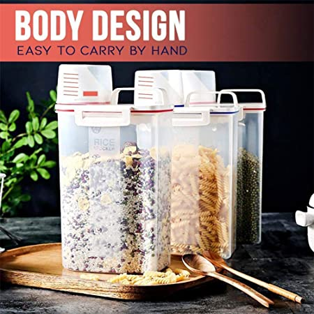1 pcs Rice Bin Container with Pour Spout and Buckle Transparent Grain Sealed Storage Tank Scale-Assisting Sealed Multigrain Storage Box