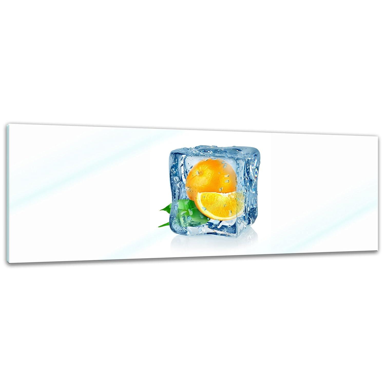 Deko Glas kein Acryl Eisw/ürfel Orange Glasfoto Moderne Glasbilder Echtglas Handmade 20x20 cm Wandbild aus Glas Bild auf Glas Glasbild