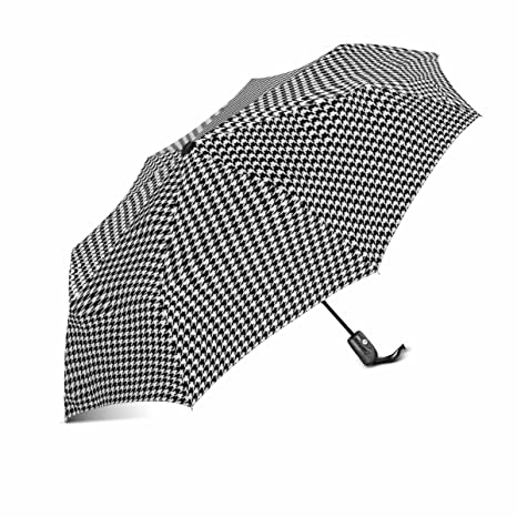 c835a98886 InterestPrint Classical Black and White Houndstooth Checkered Pattern 100%  Polyester Pongee Windproof Fabric Travel Umbrella