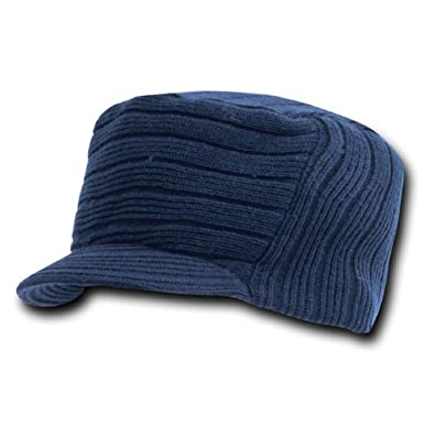 4cd050c2004 Navy Blue Flat Top Ribbed Visor Beanie Knit Jeep Cap Hat  Amazon.co.uk   Clothing
