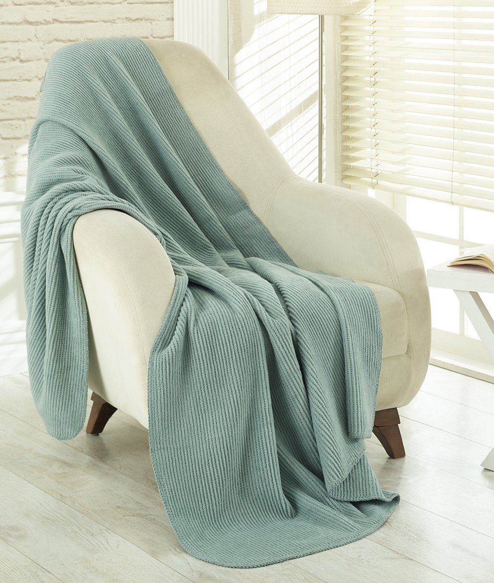 Sage green throw blankets