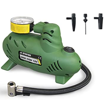 STAYER Mini compresor de Aire Coche 12V 90W 250PSI + 3 boquillas: Amazon.es: Coche y moto