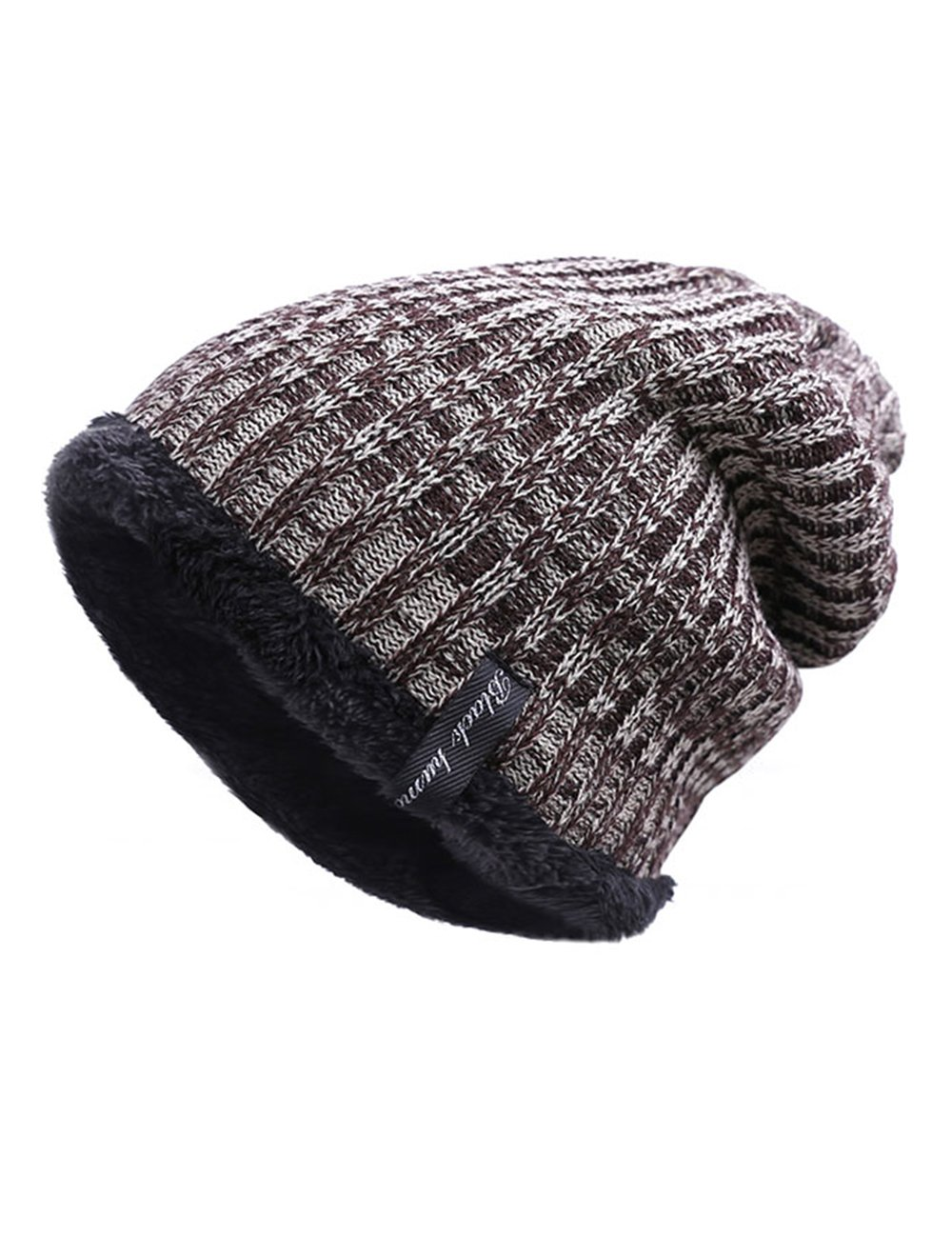 EVRFELAN Winter Men\'s Warm Knit Beanie Solid Ribbed Thick Hat Slouch Unisex Soft Skull Daily Women Cap