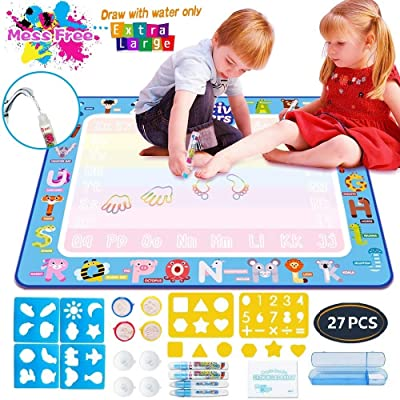 "Aqua Magic Mat, Kids Painting Writing Doodle Board Toy Color Doodle Water Drawing Mat Educational Toys for Age 1 2 3 4 5 6 7 8 9 10 Year Old Girls Boys Age Toddler Birthday Xmas Gift (39.5""x 31.5""): Toys & Games"