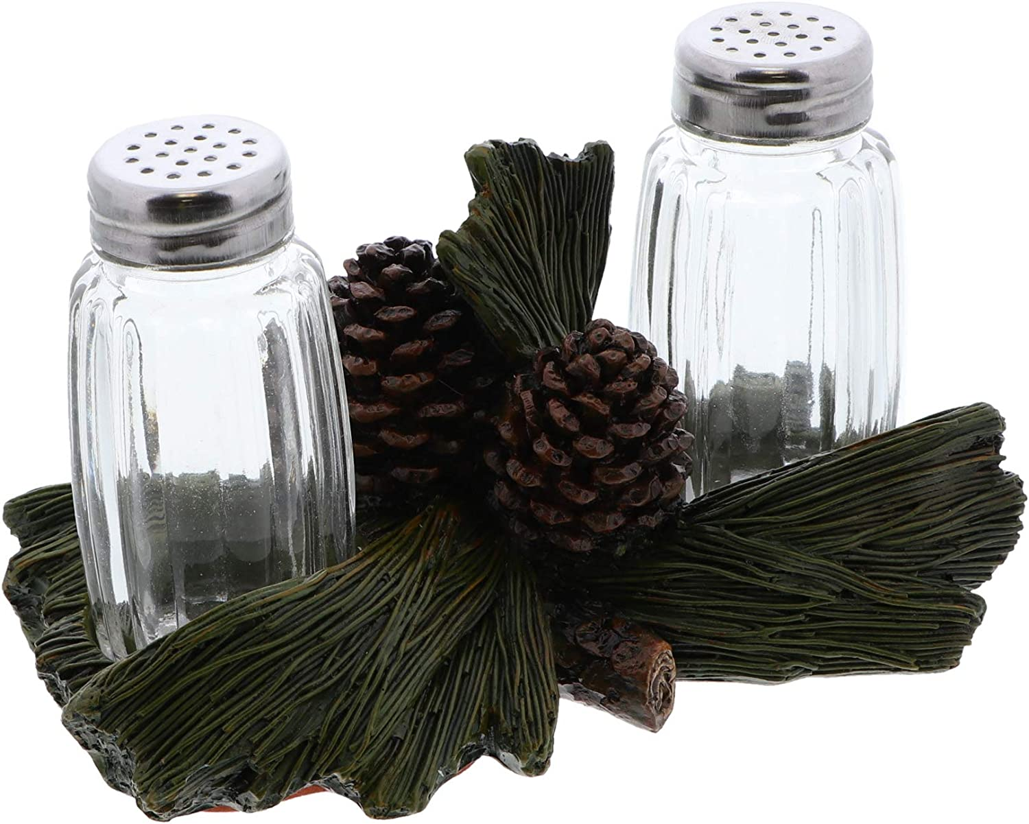 Rustic Kitchen Décor Salt and Pepper Shaker Sets - Pinecone and Leaves