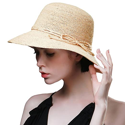 0523dada587 SIGGI Womens Crochet 100% Raffia Straw Bucket Hat with Roll Up Down Brim  Hand