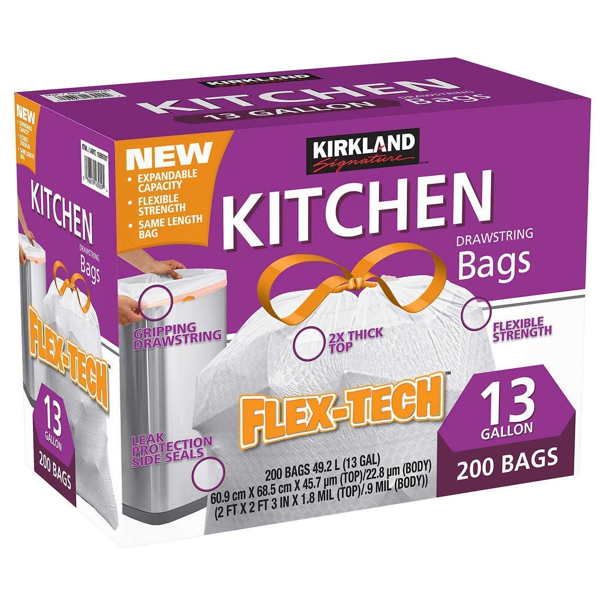Kirkland Signature kli Drawstring Kitchen Trash Bags - 13 Gallon - 200 Count (.4 Pack) by Kirkland Signature (Image #1)