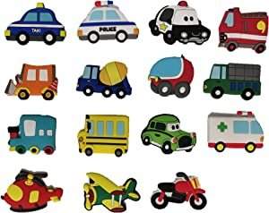 15 cute car refrigerator stickers, home kitchen decoration, children soft magnetic stickers educational props gifts