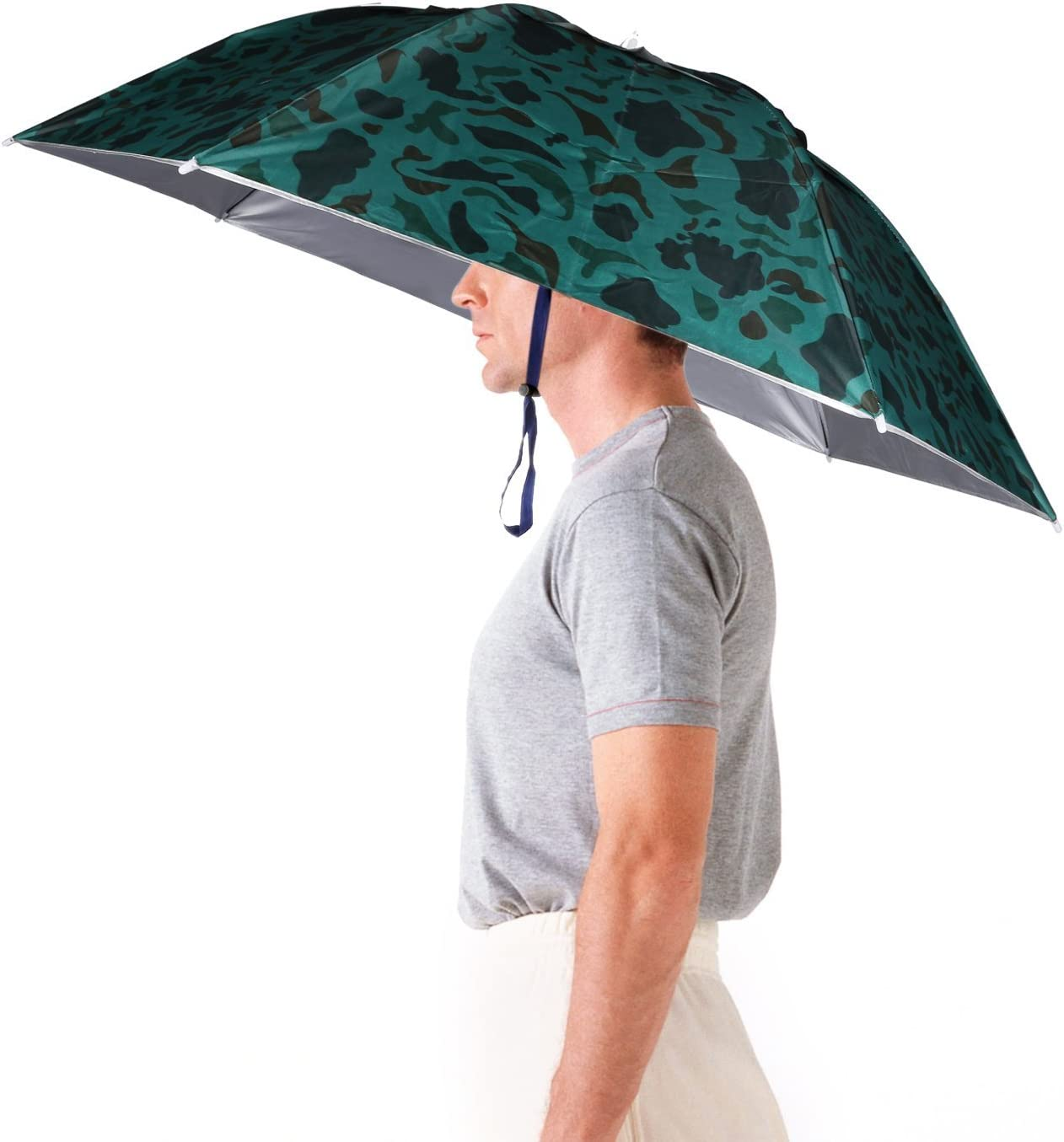 Luwint 36'' Diameter Elastic Fishing Gardening Folding Umbrella Hat Headwear