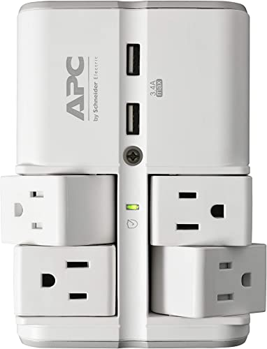 APC Wall Outlet Surge Protector with USB Ports, PE4WRU3, 4 Rotating Multi Plug Outlet, 1080 Joule Surge Protection