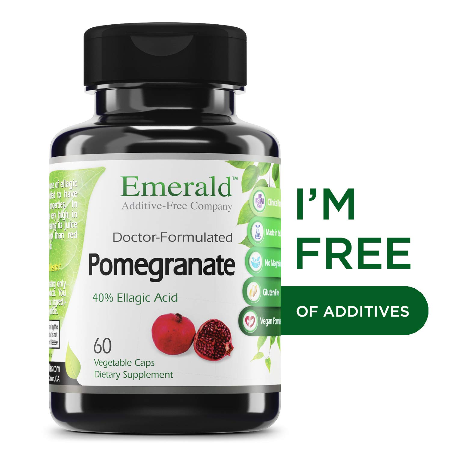Pomegranate - Supports Heart Health, Promotes Good Cholesterol & Artery Health, Potent Antioxidant, Immune System Support - Emerald Laboratories (Fruitrients) - 60 Vegetable Capsules