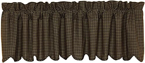 VHC Brands Kettle Grove Plaid Scalloped Valance 16×72 Country Curtain, Country Black