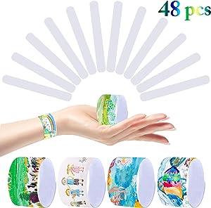 Outgeek Slap Bracelets 48 pcs Slap Bands White Wristbands Party Favors Pack for Kids Girls Boys Prizes DIY School Classroom Gifts Supplies