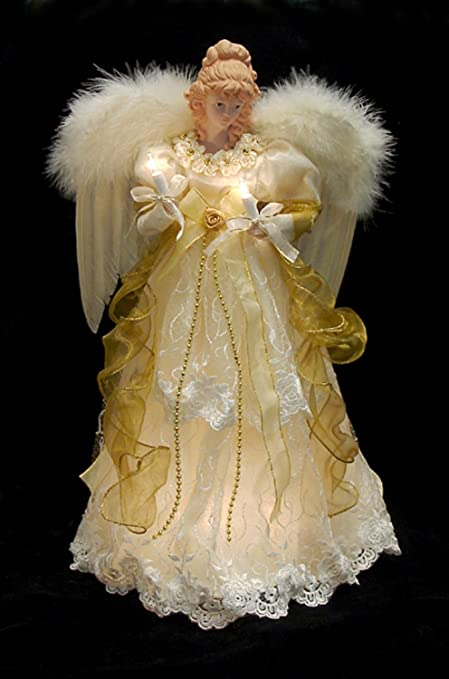"""Image Unavailable. Image not available for. Color: KSA 16.5"""" Lighted  Ivory and Gold Angel Christmas Tree Topper ... - Amazon.com: KSA 16.5"""