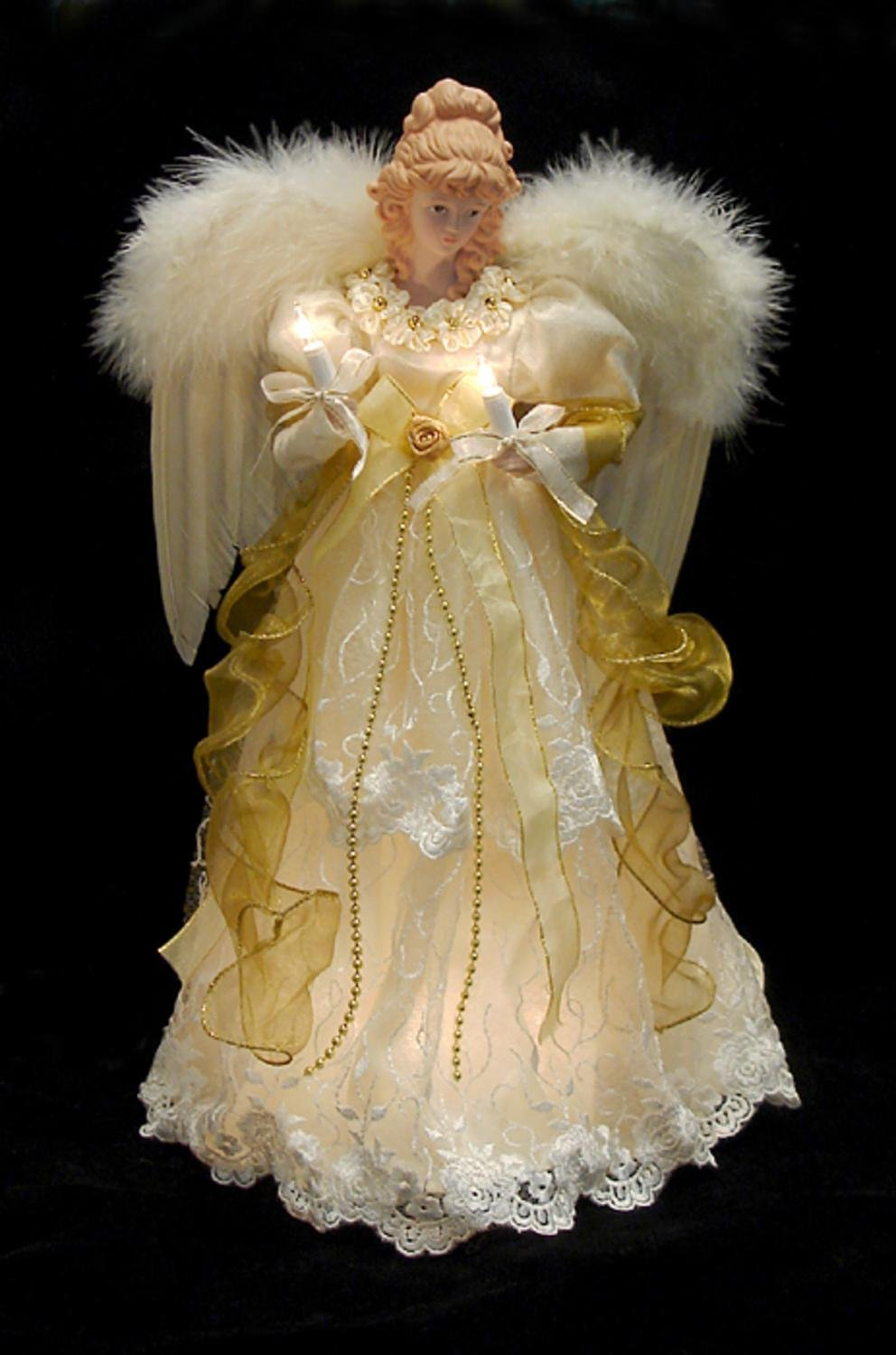 KSA 16.5'' Lighted Ivory and Gold Angel Christmas Tree Topper - Clear Lights