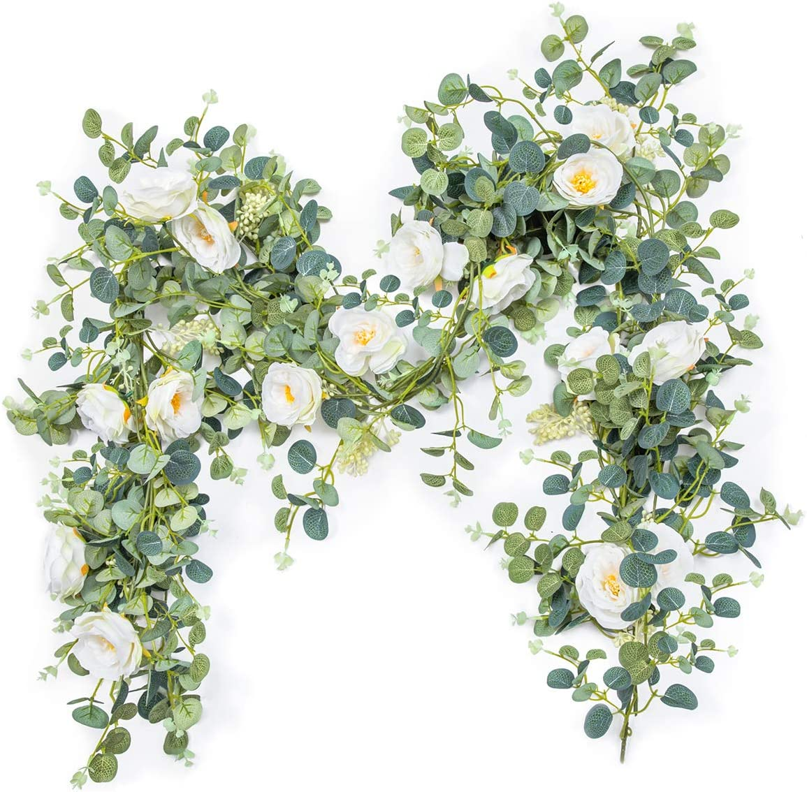 OasisCraft Artificial Flower Eucalyptus Garland with Camellias, 6ft Fake Silk Rose Vine Decorations Hanging Faux Leaves Floral Greenery for Wedding Backdrop, Garden Home Office Party, Arch Table Decor