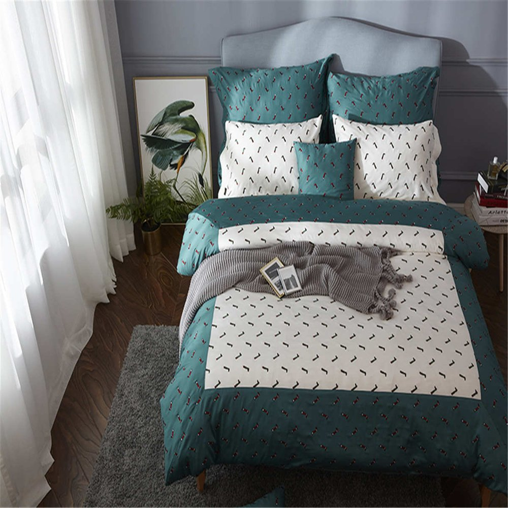 Luxury1500T Satin Fabric Cotton With Embroidery Duvet Cover Set 4 pieces Cartoon Style for Kidsextra queen^^^leg with white dark green base