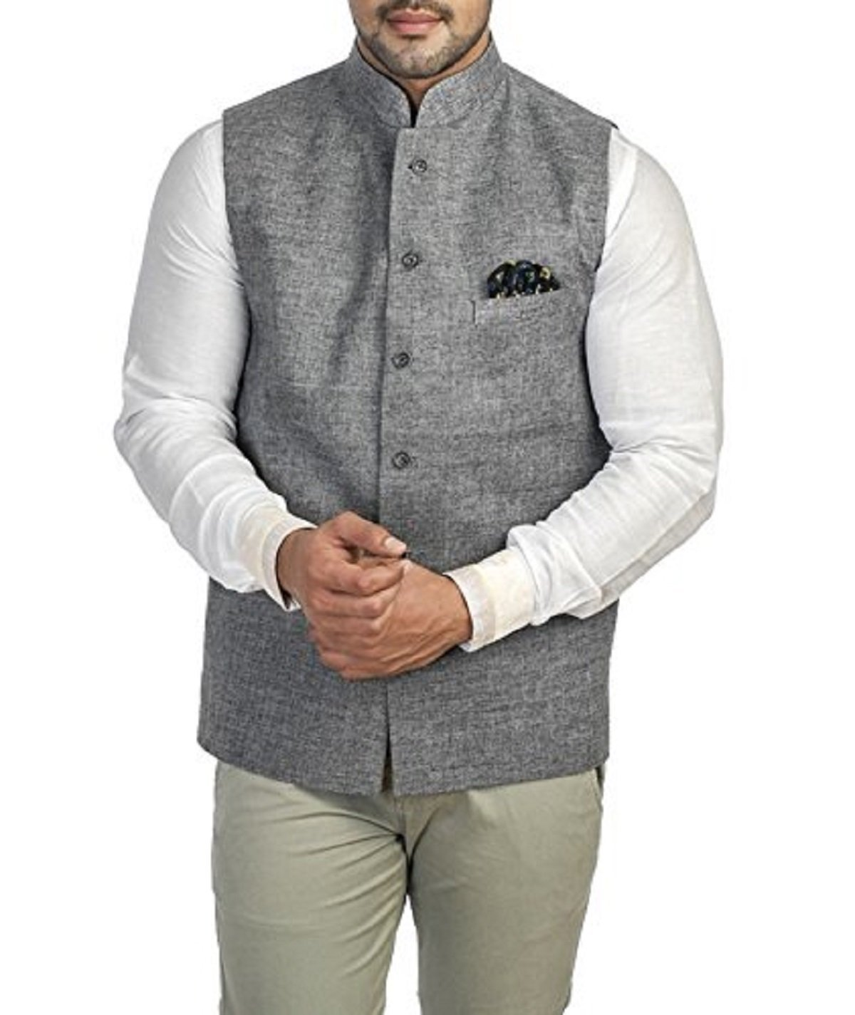 Royal Kurta Men's Cotton Blend Nehru Jacket Large Grey by Royal Kurta