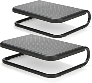 Mind Reader 2CHORDMON-BLK Metal Monitor Stand Riser, Chord Management for iMac, Printer, Laptop, PC, Holds 40lbs, 2 Pack, Black