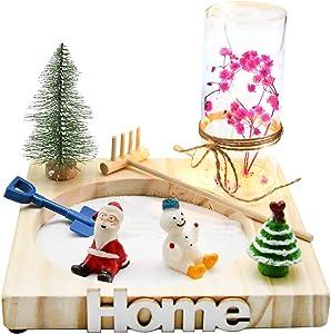 YJ Zen Garden Christmas Decorations with Led Light Wooden Tray White Sand River Rocks Rake Tools Set Mini Zen Sand Garden Kit-Meditation Gifts (ZG 2)
