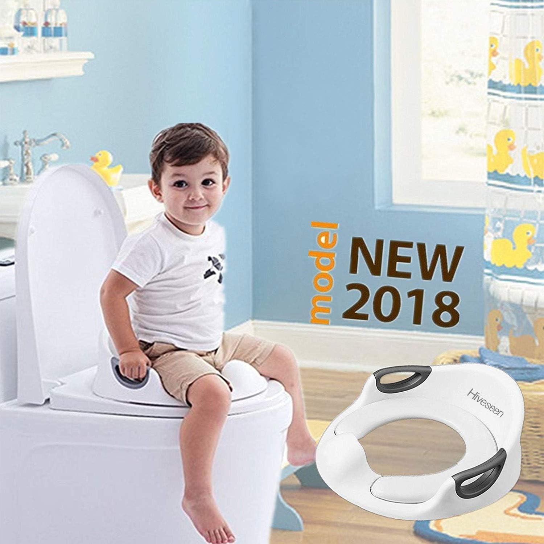 Hiveseen B/éb/é R/éducteur de Toilette Rehausseur WC Enfant Si/ège de Toilette Avec Coussin Poign/ée Dossier Conception Antid/érapants ergonomique