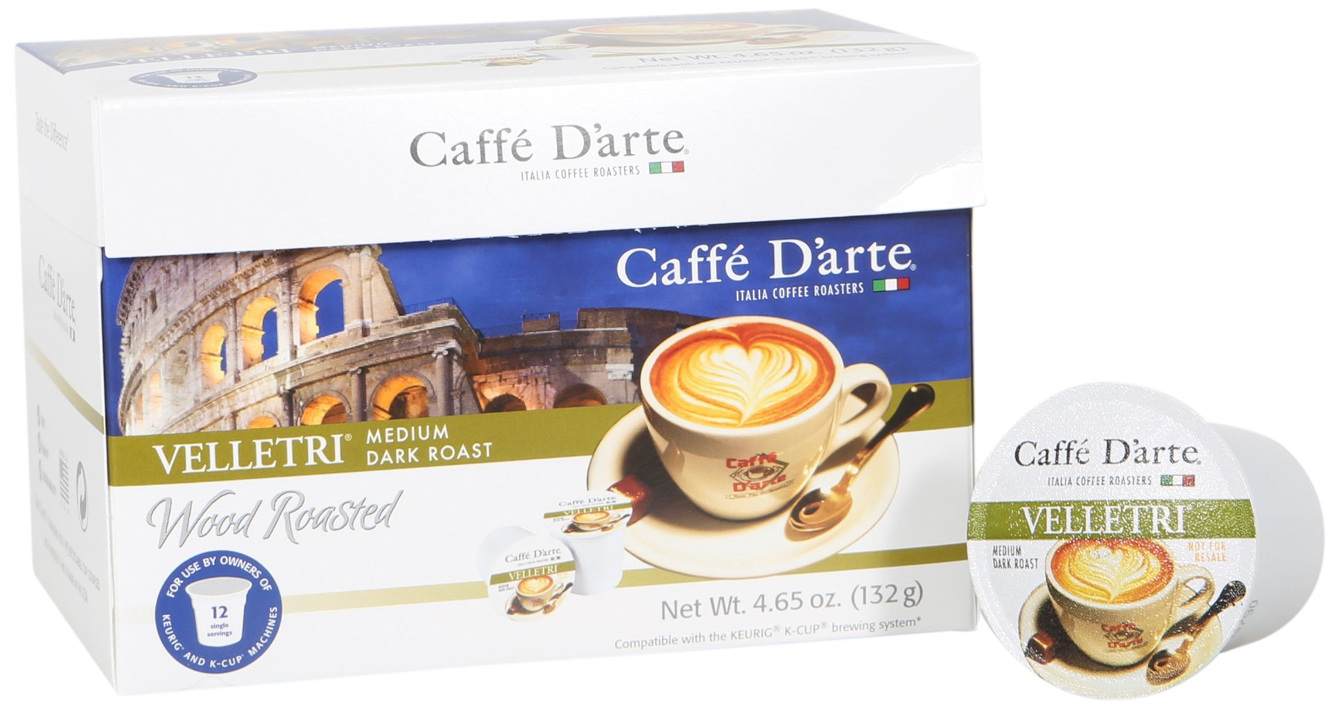 Caffe D'arte Single Serve Coffee, Velletri Blend, 12 count