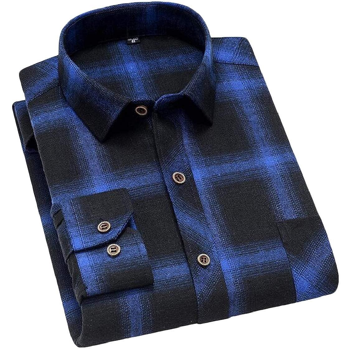 Nanquan Men Plaid Long Sleeve Casual with Pocket Button Down Big /& Tall Shirt