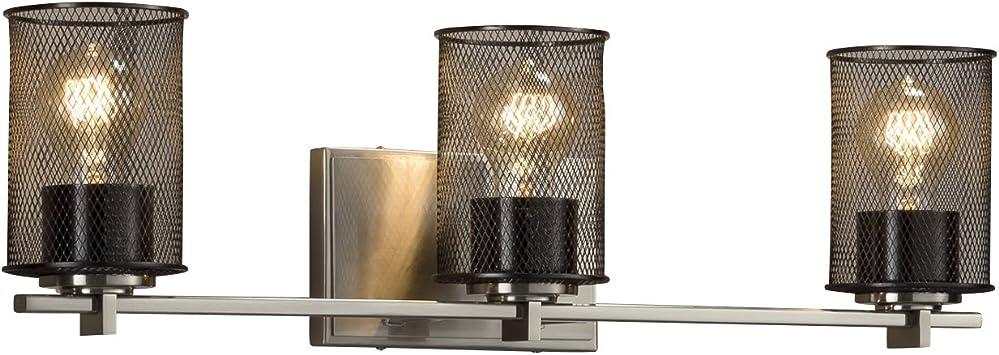 Wire Mesh Dark Bronze Finish Cylinder with Flat Rim Wire Mesh Shade Atlas 3-Light Bath Bar