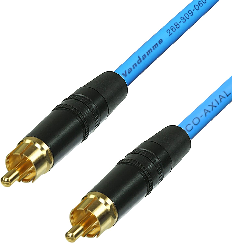 SPDIF C/âble coaxial Audio vid/éo num/érique RCA vers RCA Van Damme 75 ohm coaxial Phono 50 cm Rouge 25 cm, Noir