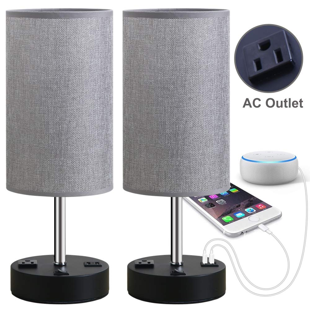 Focondot Table Lamp, Bedside Nightstand Lamps with Dual USB Charging Ports & an AC Outlet, USB Lamp Set of 2 with Gray Cylinder Shade, Stylish Desk Lamp for Bedroom Living Room Office (Grey) by focondot