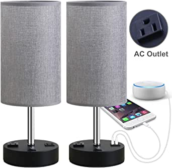Focondot Table Lamp, Bedside Nightstand Lamps with USB Charging Ports & AC Outlets, Stylish Desk Lamp for Bedroom Living Room Office, Grey Dual USB & An Outlet Table Lamp Set of 2, FOC-T13-2P 60.00W, 110.00V
